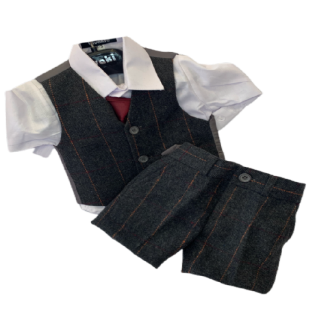 Boys Brown Check Tweed Shorts 4 Piece Suit